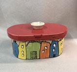 """kleiner ovaler Brottopf Brotdose """"pane"""" aus Keramik Handarbeit für Singles oder kleine Haushalte im Design colorido"""