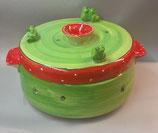 großer runder Brottopf Brotdose aus Keramik im Design erdbeere mit Fröschen