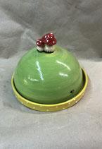 Käseglocke  runde Dose für Käse oder Wurst oder Kuchen aus Keramik mit Pilze