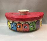 halb runder Brottopf Brotdose aus Keramik Handarbeit für Singles oder kleine Haushalte im Design colorido