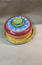 Käseglocke  runde Dose für Käse oder Wurst oder Kuchen aus Keramik in regenbogen