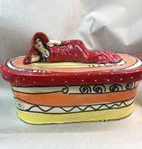 Brottopf Brotdose oval Keramik in ozova mit Dame Hilde als Griff