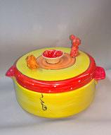 Brottopf Brotdose rund mit zwei Griffen mit Mäusen  Keramik Handarbeit
