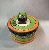 Keksdose Dose für Gebäck  Keramik mit Eule in grün