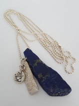 Sterling zilveren bolletjes ketting met Lapi lazuli hanger