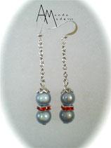 BO Perles magiques grises sur chaîne et strass rouges