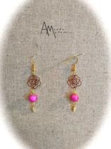 BO Estampes roses dorés perles magiques roses et feuilles dorées