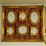フォトフレーム ダマスク柄 ダマスクローズ ロココ様式 クラシック 6窓 ファミリー ゴールド デコラティブ 壁掛け フレーム 写真額 ウォールデコ アンティーク風 シャビーシック ガーリー 姫系 アンティーク 雑貨