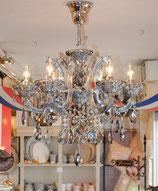 シャンデリア ランプ 6灯 スモークブルー ブルー 青 ブルークリスタル クラシック ゴージャス 754065