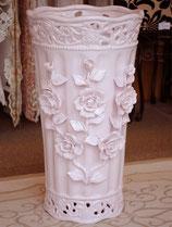 傘立て アンブレラスタンド 筒形 円筒形 陶器 ピンク 桃色 薔薇柄 バラ 花柄