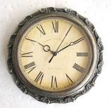 時計 オシャレ 掛時計 壁掛け時計 丸 ウォールクロック 銀 シルバー クラシック アンティーク調 138057