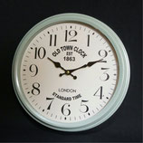 時計 壁掛け時計 オシャレ 丸 アンティーク 掛時計 ライトブルー パステルグリーン シャビーシック クラシック ロンドン ウォールクロック 75021WC