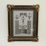 壁飾り 絵画 オシャレ 長方形 インテリア額 イタリア調 コンソール シャンデリア ウォールオブジェ 額絵 ロココ様式 アンティーク 姫系 1383217