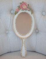 ハンドミラー 壁掛け鏡 手鏡 オシャレ アンティーク クラシック フレンチ アンティーク バラ ホワイト エレガント 姫家具 かわいい