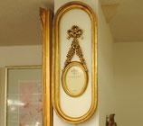 写真額 壁掛けフォトフレーム 壁掛け リボン 楕円形 アンティーク クラシック フレーム 金 ゴールド
