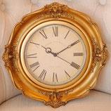 時計 掛時計 壁掛け時計 金 ゴールド ダマスク柄 ウォールクロック 丸 クラシック アンティーク 1383131 GD