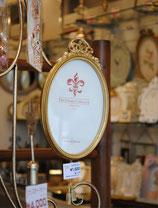 リボンフォトフレーム 壁掛け タッセル付き 楕円 オーバル 可愛い ゴールド 金 アンティーク風 シャビーシック フレンチ リボンモチーフ フレンチ 1383181 L
