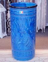 傘立て アンブレラスタンド 筒形 円筒形 陶器 ブルー 青色 花柄 イタリア製 italy 534073