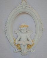 エンジェル 天使 可愛い 楕円 パネル 壁掛け 本読み 薔薇 バラ 薔薇冠 ホワイト ゴールド 368099