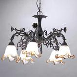シャンデリア シャンデリアランプ 5灯 オシャレ おしゃれ アンティーク クラシック ガラスシェード 照明 照明器具 ランプ 725019