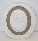 壁飾り オシャレ 楕円 貴婦人 カメオ ウォールオブジェ 額絵 レリーフ 白額 アンティーク ホワイト 姫系 右向き 1383053