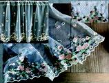 カフェカーテン レース生地 オレンジ チュールレース フラマンローズ 薔薇刺繍 レースカフェカーテン レースカーテン 刺繍 60×120