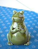 かえる カエル 置物 置き物 雑貨 インテリア 陶器のオブジェ みどり ミドリ フロッグ 01060-400G 小