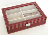 メガネケース クロコダイル メガネ サングラス 収納ボックス 6個 6本 収納 コレクション ケース 収納ケース 展示 ディスプレイ レザー風 おしゃれ レッド 赤 コレクションケース メガネ収納 ボックス BOX