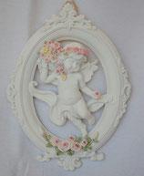 エンジェル 天使 可愛い 楕円 パネル 壁掛け バラ花かご 薔薇 バラ 薔薇冠 ホワイト ピンク 368098