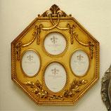 写真額 壁掛けフォトフレーム フォトスタンド リボンタッセル額 八角形 アンティーク クラシック 4窓 ファミリーフォトフレーム  金 ゴールド