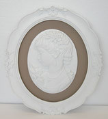 壁飾り オシャレ 楕円 貴婦人 カメオ ウォールオブジェ 額絵 レリーフ 白額 アンティーク ホワイト 姫系 左向き 1383050