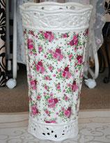 傘立て アンブレラスタンド 筒形 円筒形 陶器 ホワイト 白色 薔薇柄 バラ 花柄