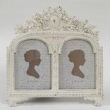 写真立て 2窓 リボン 薔薇 バラ ホワイト シャビシック フォトフレーム ハガキサイズ おしゃれ 白い 1383168