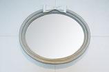 ミラー リボン オシャレ 白 壁掛け鏡 オーバル ウォールミラー グレー 07106