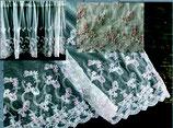 カフェカーテン レース生地 ホワイト チュールレース ピンク小花 小花刺繍 レースカフェカーテン レースカーテン 刺繍 45×120 WK0700U1