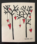 Abwaschlappen Rote Herzen am Baum