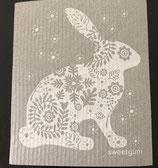 Abwaschlappen Hase Weiss / Grau