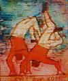 """Postkarte 6 - """"Sylt steht Kopf"""" - Aquatinta-Farb-Radierung - 18x15 cm - 2008"""