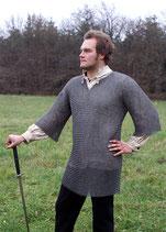 Kettenhemd Haubergeon Flachring Keilnieten gemischt ID 8mm Gr XL