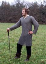 Kettenhemd Hauberk aus Federstahl, ID 8mm, unbehandelt, Gr. L