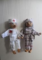 Marionetten Krankenpflegerin und Schlafmütze (Patient)