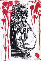 """Gunboy"" - linocut print"