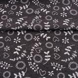 Bündchen Meliert Druck Dunkel Grau-Weiß Motiv