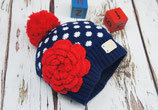 Bobble Hat Navy & White