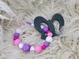 003 Schmetterling Beißring grau / pink