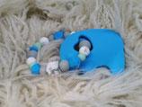003 Elefant Beißring blau / grau