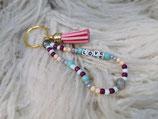 028 Schlüsselanhänger mit Love und rosa Quaste