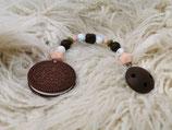 009 Cookie Beißkette dunkelbraun / peach