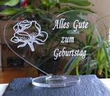 """HERZ """"ALLES LIEBE - ALLES GUTE""""- GEBURTSTAG GESCHENK ACRYLGLAS LIEBE"""