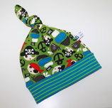 Zipfelmütze Sweat Grün Piratenmotive Kopfumfang 36 cm